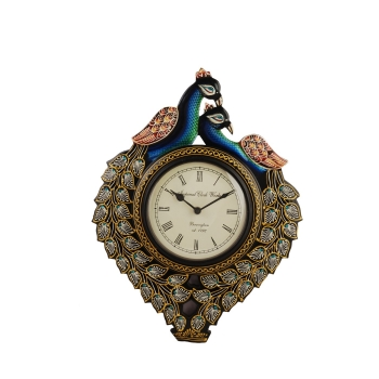 Wooden CARVED PEACOCK WITH CLOCK